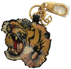 Gucci Tiger Keychain Embroidered Tiger Head Leather Base