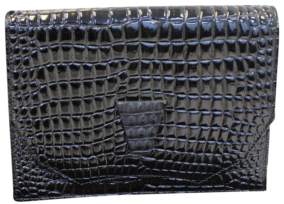 a0877bb71ab23 Saint Laurent YVES SAINT LAURENT Black Crocodile Leather Clutch Bag Image 0  ...