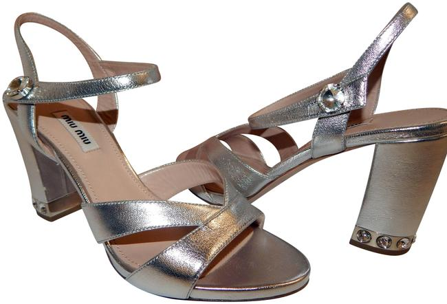 Item - Silver Leather Open Toe Crystal Heels Italy Sandals Size EU 38 (Approx. US 8) Regular (M, B)
