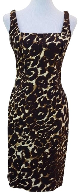 Item - Cream and Brown Animal Print Mid-length Cocktail Dress Size 6 (S)