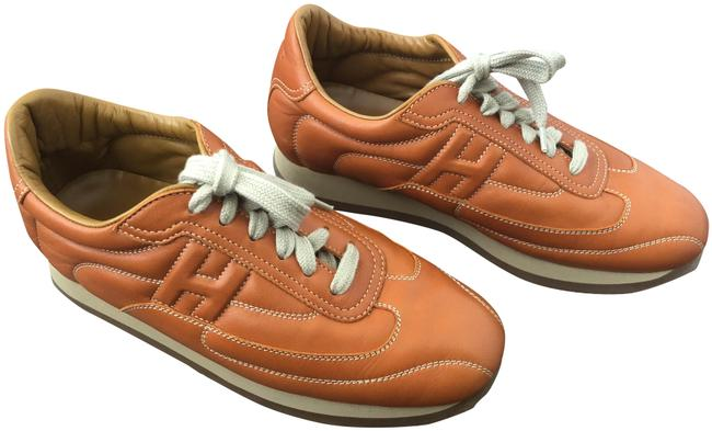 Item - Orange Quick H Logo Leather Sneakers Size EU 38 (Approx. US 8) Regular (M, B)