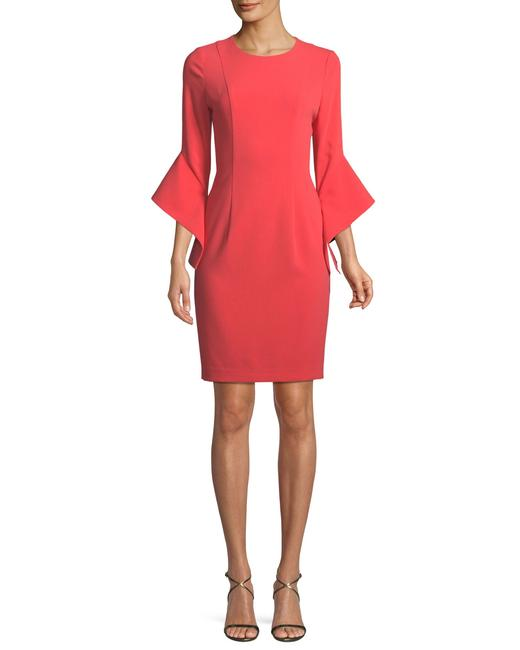 Item - Coral Lorie Bell-sleeve Mini Mid-length Cocktail Dress Size 6 (S)