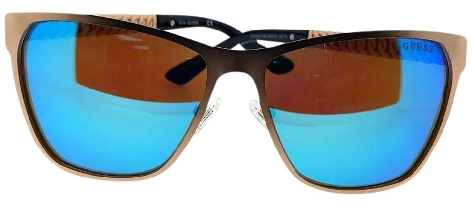 Guess GU7403-29X Square Women s Rose Gold Frame Blue Lens Genuine Sunglasses  ... 2a7dfc2fb1