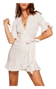 Reformation short dress WHITE Wrap Ruffles Classic on Tradesy