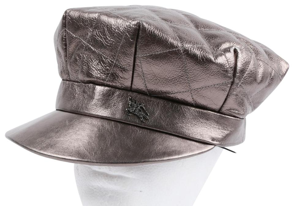 Burberry BURBERRY Metallic Grey Quilted Leather Hat ... 1d6d8703961