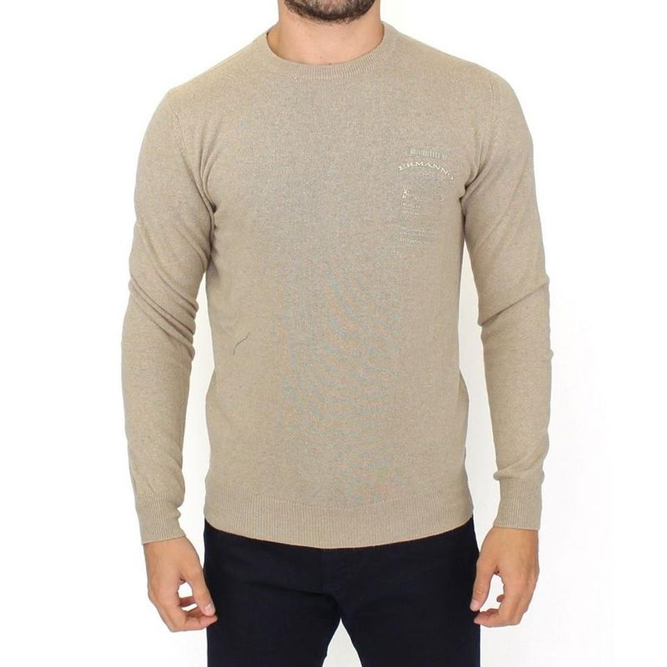 106604ad84f Ermanno Scervino Beige D10103-4 Wool Cashmere Crewneck Pullover Sweater  (It54