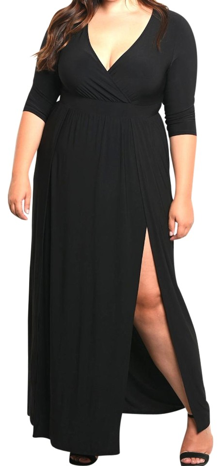 Black Wrap Top Double Slit Jersey Long Casual Maxi Dress Size 26 (Plus 3x)