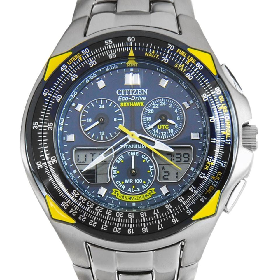 Citizen Steel Eco-drive Blue Angels Skyhawk Mens Jr3090 ...