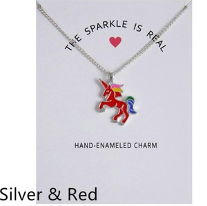 Fashion Jewelry For Everyone Silver Red Plated Double Color Glaze Unicorn Unicorn Horse Clavicle Pendan Necklace