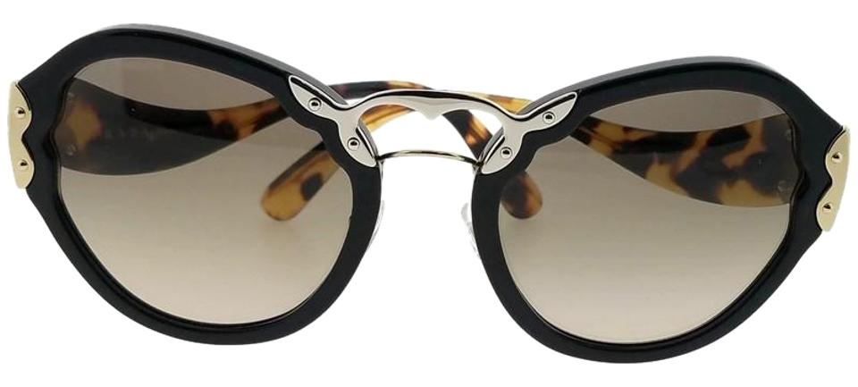 55c72f4a66be Prada Black Pr09ts-1ab3d0 Wanderer Womens Frame Grey Lens Genuine Sunglasses