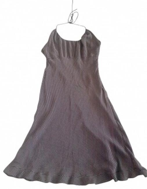 Item - Black and White Halter Top Polka Above Knee Night Out Dress Size 12 (L)