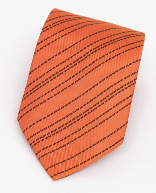 Item - Orange Men's Necktie Silk Striped Pattern Tie/Bowtie