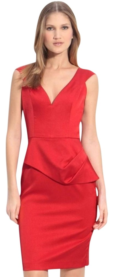 7121e9d9839 Black Halo Red Dame Jackie Satin Mid-length Cocktail Dress Size 2 ...