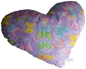 """Lisa Nieves Adorable butterfly print heart shaped pillow. Measures 18"""" x 14"""""""