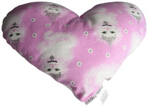 """Lisa Nieves Adorable cat heart shaped pillow. Measures 18"""" x 12"""" White satin back."""