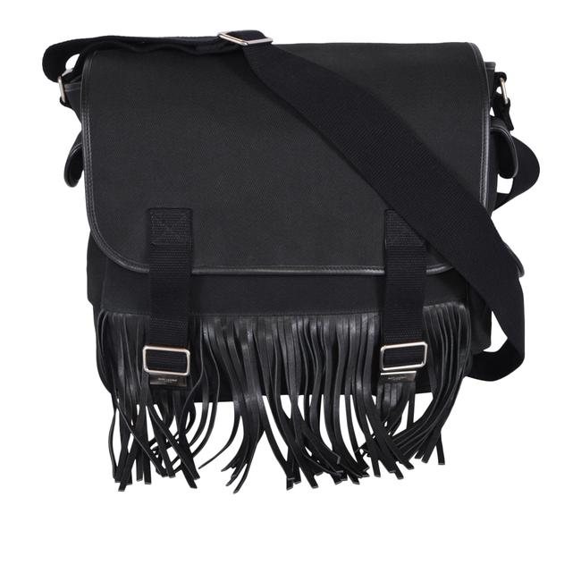 Item - New Ysl 414785 Twill Army Fringed P Black Cotton and Leather Messenger Bag