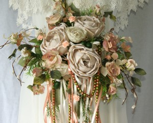 Ribbons and Garden Roses Peach Silk Bridal Bouquet Ceremony Decoration