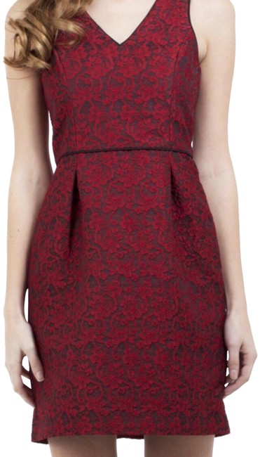 Item - Red Sleeveless Lace Jacquard Short Cocktail Dress Size 4 (S)
