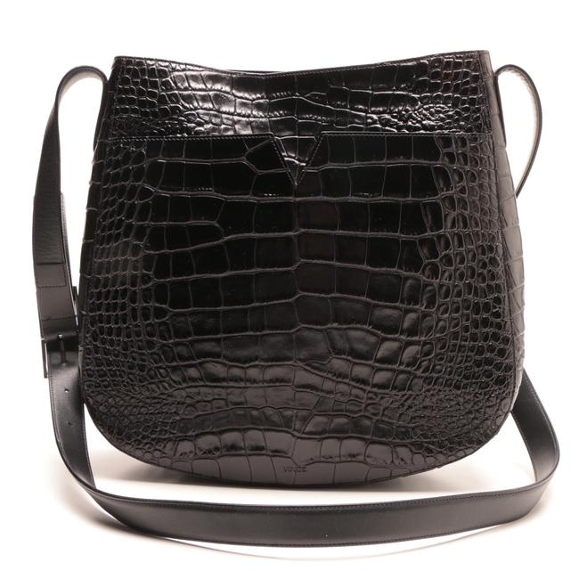 Item - Crossbody 'medium' Croc Embossed Black Leather Shoulder Bag