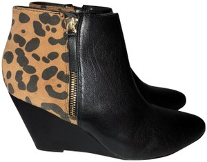 DV by Dolce Vita Cheetah Leather Wedge Black Multi Boots