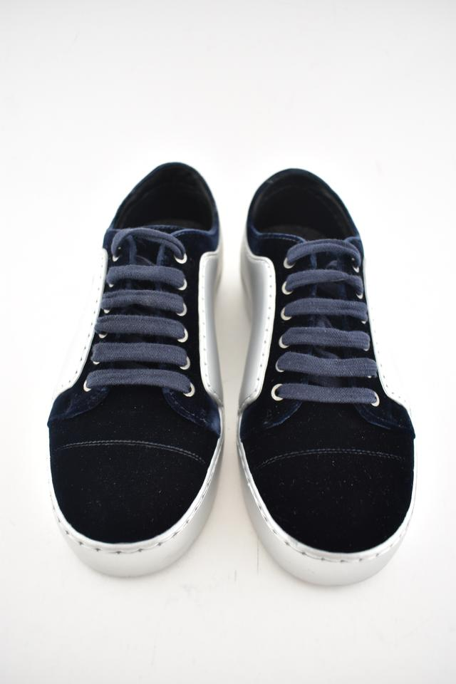 753a4d702e1b Chanel Blue 17a Velvet Silver Cc Logo Lace Up Low Top Trainer ...