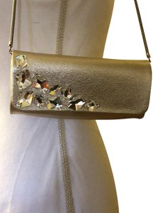 Inge Christopher Textured Leather Color Swarovsky Crystals Chain Strap Small Campagne Clutch