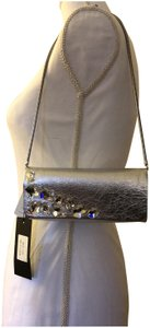 Inge Christopher Textured Leather Color Swarovsky Crystals Chain Strap Small Silver Clutch