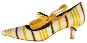 Tory Burch Mary Jane Striped Beverly Fall Yellow Pumps