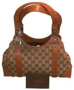 d24797ec128 Gucci Tote in Brown Canvas with Butterscotch Leather Trim