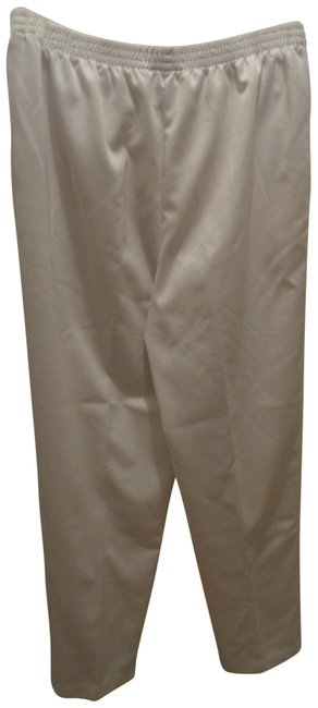 Alfred Dunner White Elastic Waist Pants Size 12 (L, 32, 33) Alfred Dunner White Elastic Waist Pants Size 12 (L, 32, 33) Image 1
