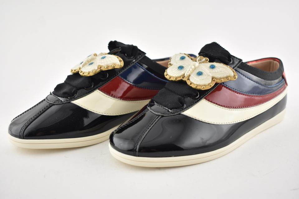 2e5f9417674 Gucci Black Falacer Butterfly Red Patent Low Top Lace Up Trainer Sneaker  Sneakers Size EU 36 (Approx. US 6) Regular (M