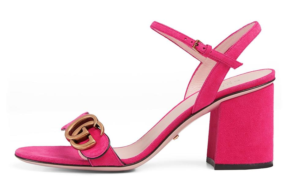 eb1e16991863 Gucci Pink Marmont Suede Gold Logo Ankle Strap Block Heel Sandal ...