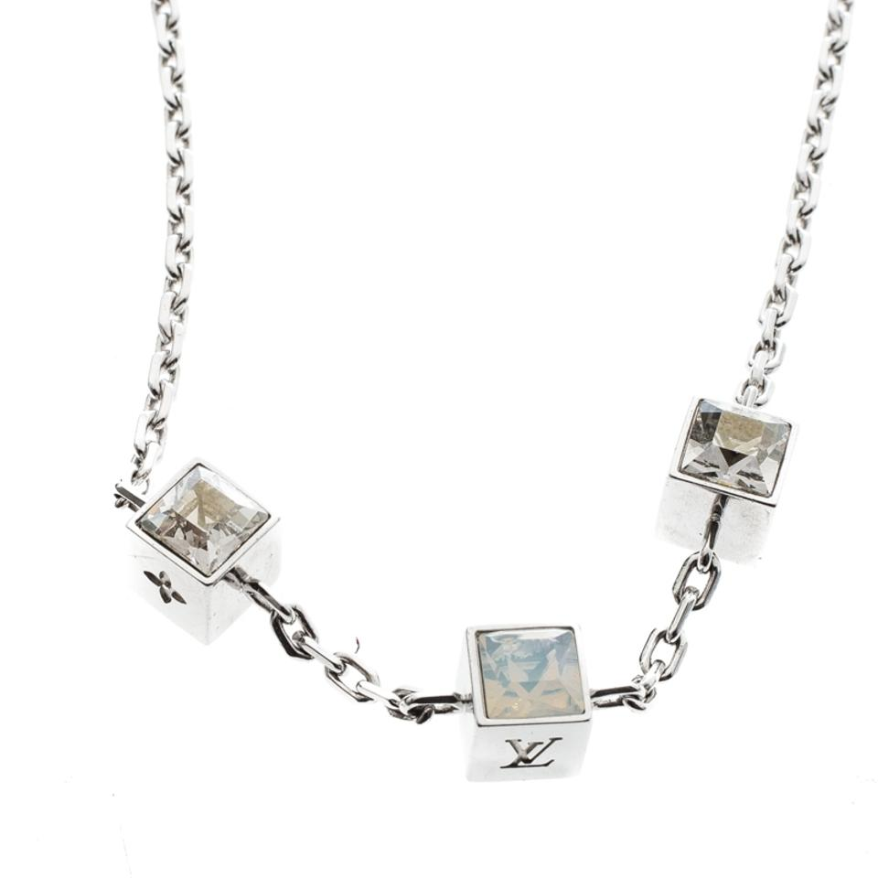 9500fe1eb367 Louis Vuitton Gamble Crystal Silver Tone Station Necklace Image 5. 123456