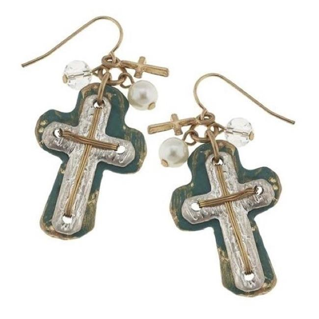 Silver and Gold Patina Cross Earrings Silver and Gold Patina Cross Earrings Image 1