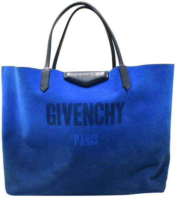 Givenchy Reversible Blue Silver Calfskin Leather Tote Givenchy Reversible Blue Silver Calfskin Leather Tote Image 1