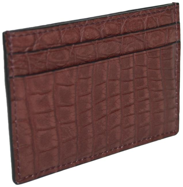 Gucci Burgundy Crocodile Leather Card Case Made In Italy Wallet Gucci Burgundy Crocodile Leather Card Case Made In Italy Wallet Image 1