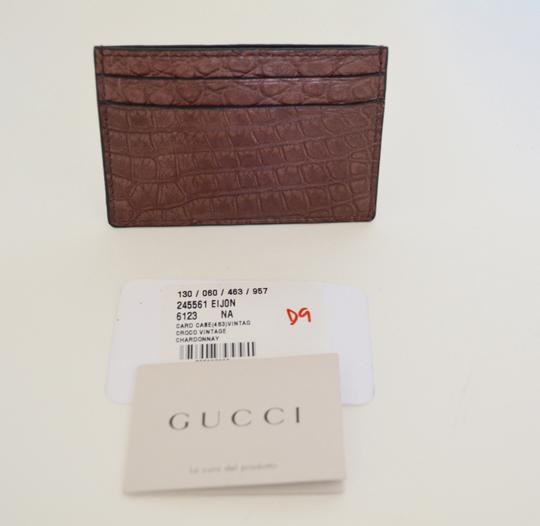 Gucci NIB GUCCI CROCODILE LEATHER CARD CASE WALLET MADE IN ITALY Image 2