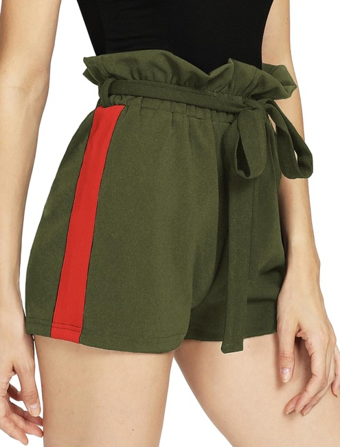 SheIn Dark Green and Red Cut Frill Waist Shorts Size 4 (S, 27) SheIn Dark Green and Red Cut Frill Waist Shorts Size 4 (S, 27) Image 1