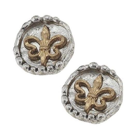 Preload https://img-static.tradesy.com/item/24187631/silver-and-gold-10-mm-stud-fleur-de-lis-earrings-0-0-540-540.jpg