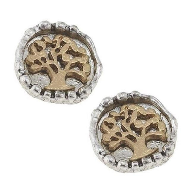 Silver and Gold 10 Mm Stud Tree Earrings Silver and Gold 10 Mm Stud Tree Earrings Image 1