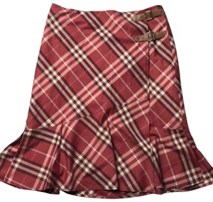 Burberry Blue Label Skirt Red Cream Burgundy