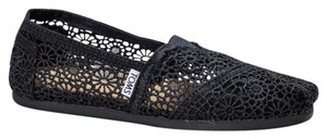 TOMS Slip On Comfortable Crochet Slippers Black Flats