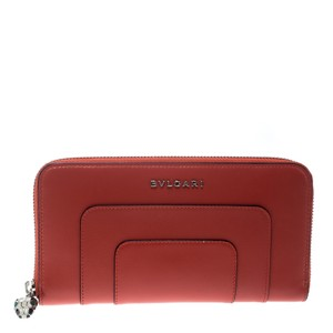 BVLGARI Red Leather Serpenti Forever Zip Around Wallet