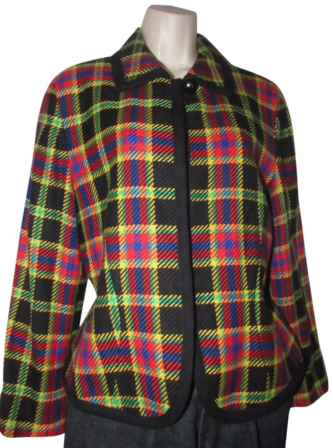 Emanuel Ungaro Black Wool with Red Yellow Blue and Green Window Pane Plaid Clothes/Designer Clothes Blazer Size 10 (M) Emanuel Ungaro Black Wool with Red Yellow Blue and Green Window Pane Plaid Clothes/Designer Clothes Blazer Size 10 (M) Image 1