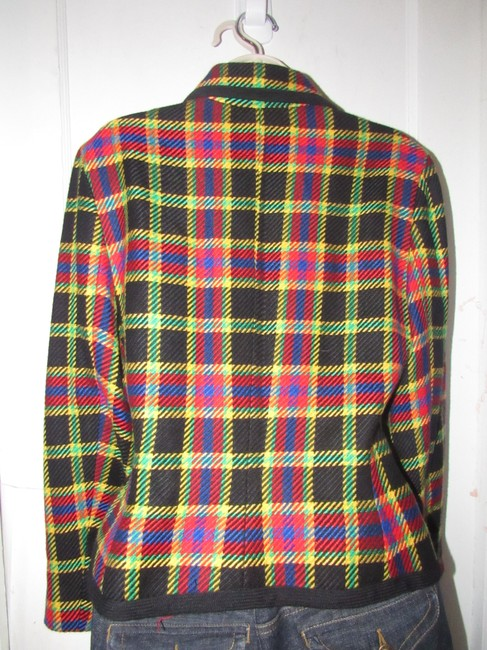 Emanuel Ungaro Edgy Modern Look Mint Condition Shorter Cropped Look Bold By black wool with red, yellow, blue, and green window pane plaid Blazer Image 1