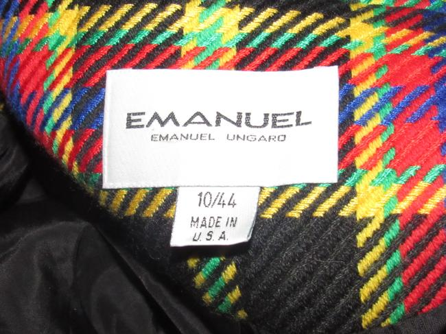 Emanuel Ungaro Edgy Modern Look Mint Condition Shorter Cropped Look Bold By black wool with red, yellow, blue, and green window pane plaid Blazer Image 10
