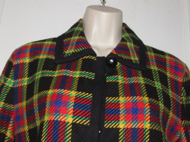 Emanuel Ungaro Edgy Modern Look Mint Condition Shorter Cropped Look Bold By black wool with red, yellow, blue, and green window pane plaid Blazer Image 4