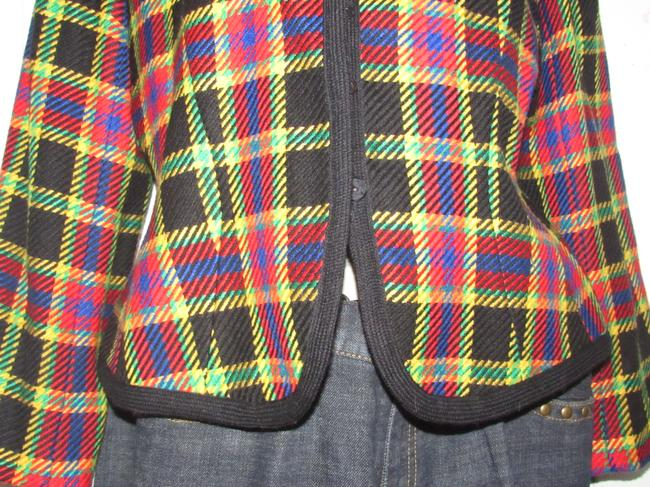 Emanuel Ungaro Edgy Modern Look Mint Condition Shorter Cropped Look Bold By black wool with red, yellow, blue, and green window pane plaid Blazer Image 5