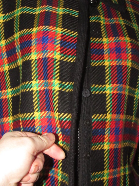 Emanuel Ungaro Edgy Modern Look Mint Condition Shorter Cropped Look Bold By black wool with red, yellow, blue, and green window pane plaid Blazer Image 6