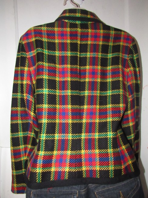 Emanuel Ungaro Edgy Modern Look Mint Condition Shorter Cropped Look Bold By black wool with red, yellow, blue, and green window pane plaid Blazer Image 7